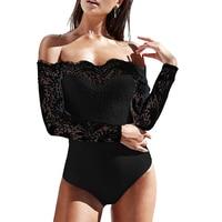 Mishenko Sexy Off Shoulder Lace Bodysuit Women Summer 2018 Long Sleeve Skinny Jumpsuit Rompers Body Feminino