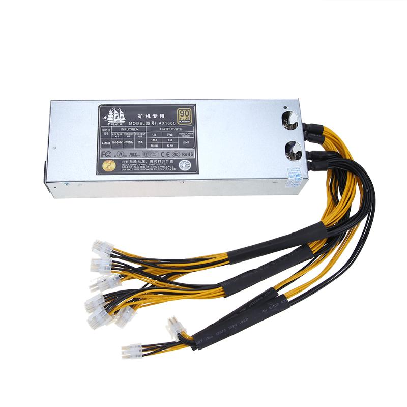 ALLOYSEED 1800W 180 264V Platinum Antminer With 10pcs Interface Computer Power Supply For Antminer Miner Mining
