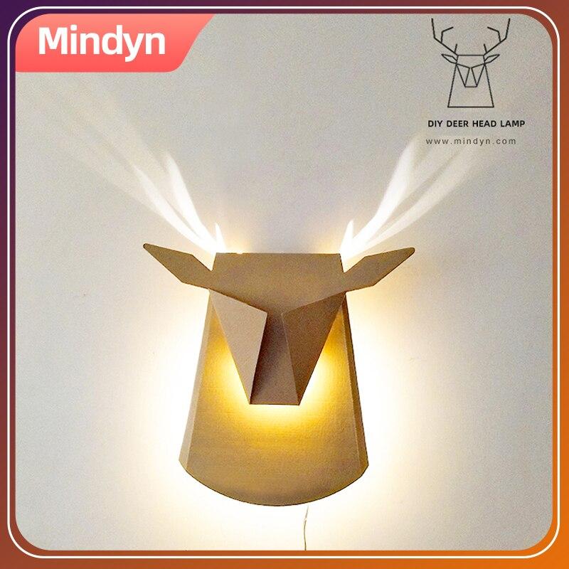 Mindyn LED Light Children DIY Handmade Lamp Material Package Corridor Creative Wall Deer Lamp Handcraft