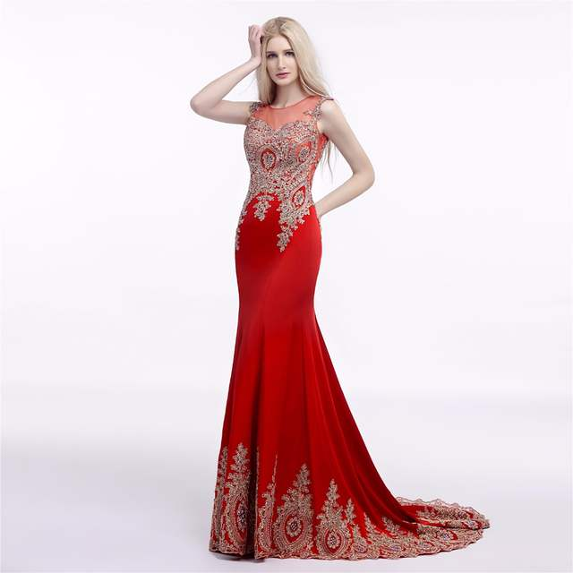 placeholder Red Royal Blue Sexy Long Prom Dress 2018 Mermaid Sheer Back  Gold Lace Appliques Formal Party a2a4b822f1d9