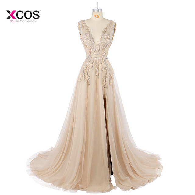 Sexy Side Split Prom Dresses 2018 Deep V Neck Backless Beads Crystal Party  Gowns Sleeveless Court Train Cheap Tulle Party Dress 51cc67bbc
