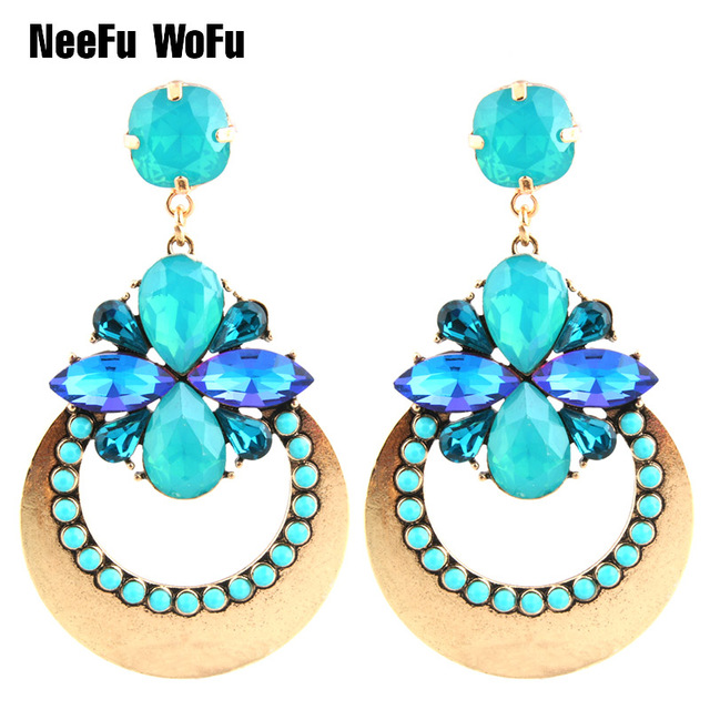 NeeFu WoFu Drop Rhinestone Crystal Big Earring Dangle Zinc alloy Large  Flowers Long Brinco Ear Accessories fe83fb4bd4d8