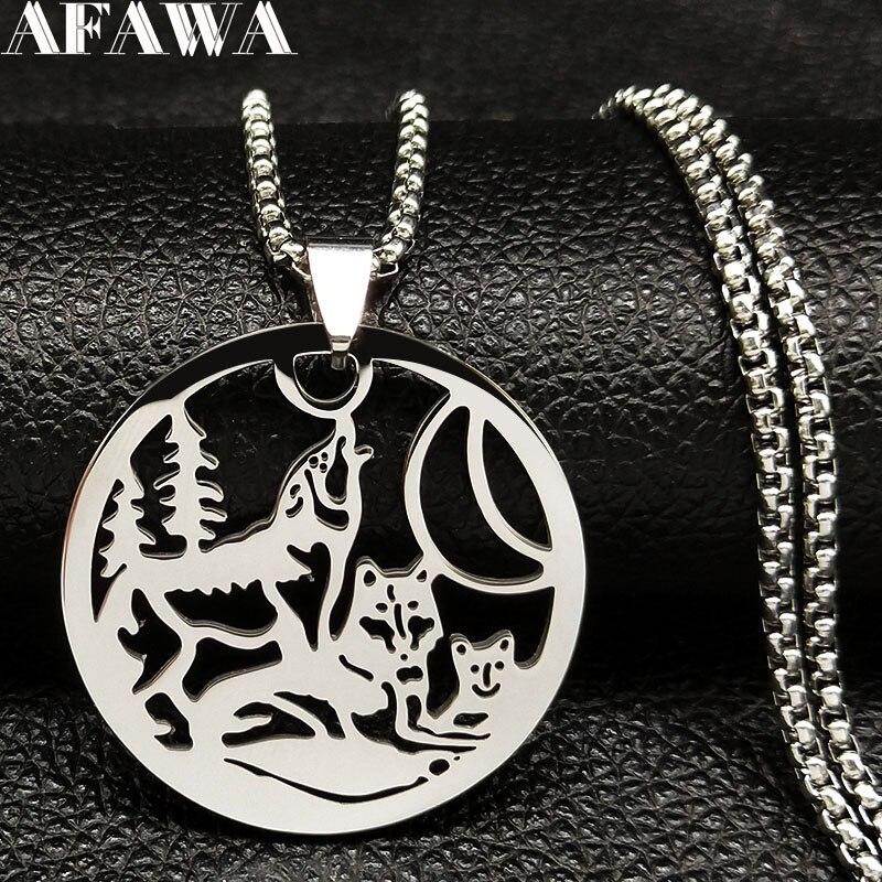 eec6a601f520 2019 familia Lobo de acero inoxidable declaración collar de plata de los  hombres de Color collares