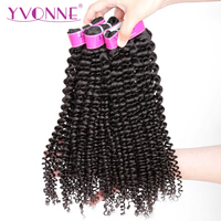 YVONNE Kinky Curly Virgin Brazilian Hair Weave Bundles 3Pcs Human Hair Bundles Natural Color Free Shipping