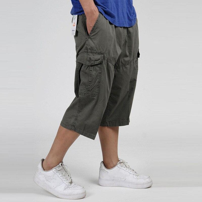 Summer Mens Multi Pocket Casual Cargo Shorts Men Cotton Loose Short Mens Calf-Length Work Shorts Man Trousers Plus Size 6XL