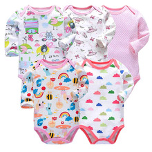 5/6pcs set  Tender Babies New baby jumpsuit multi-style long-sleeved printed tights autumn cotton Baby suit