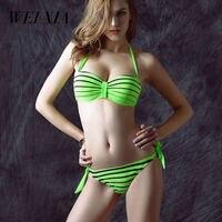 Christmas Gift Sale WEIXIA 2017 Sexy Green Color Bikini Low Waist Swimsuit Brazilian Women Bikini Set