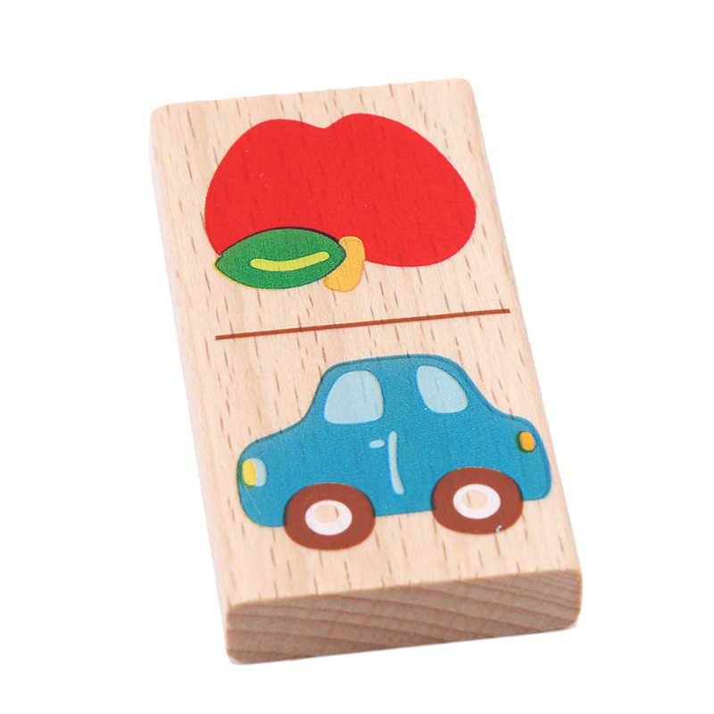 W nowym stylu drewniane owoce w stylu kreskówki zwierząt rozpoznać bloki domino układanki Montessori dzieci nauka i edukacja Puzzle zabawki