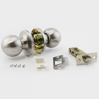 10 pcs Sliver Stainless Steel Channel Lock Brushed Round Ball Privacy Door Knob Set Handle Lock Key With Accessory Free Shipping