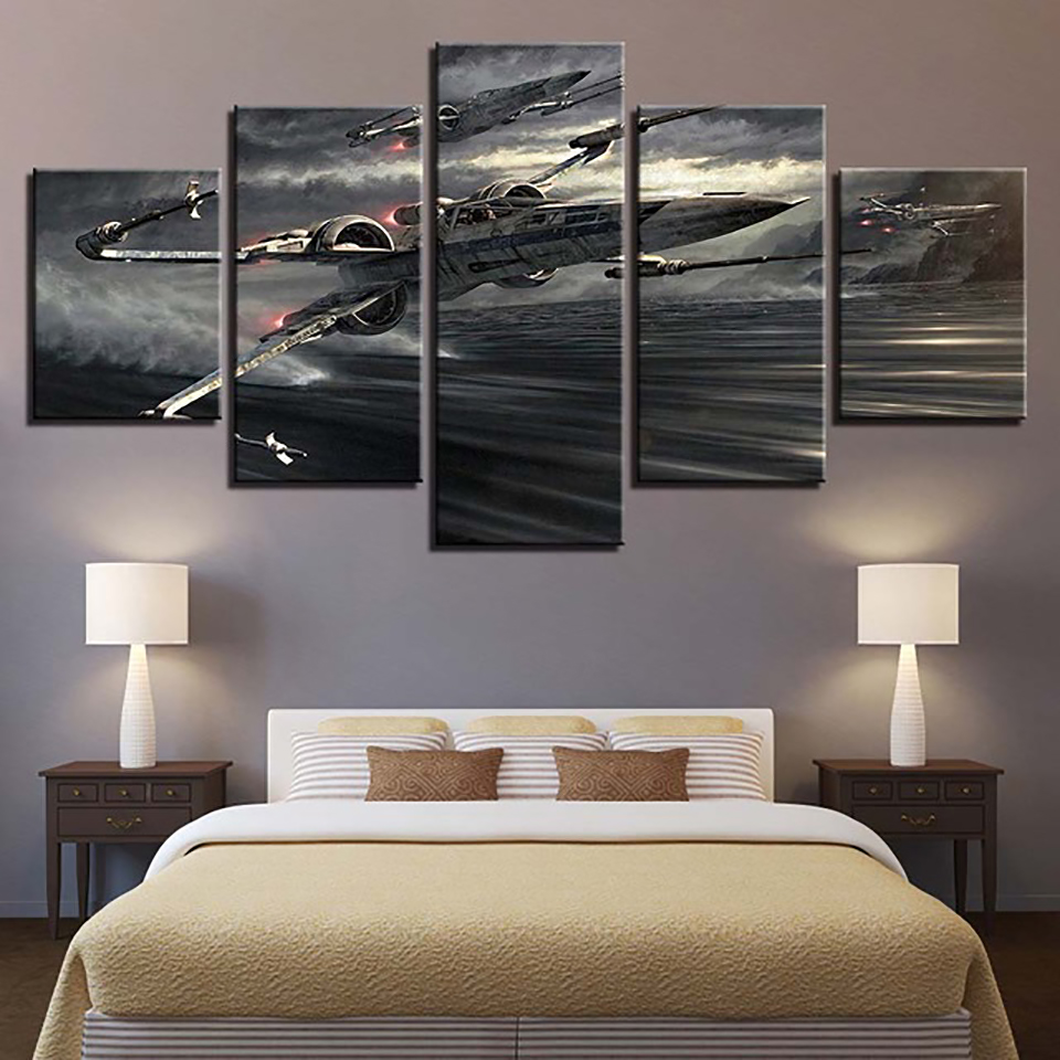 Canvas HD Prints Painting Home Decor 5 Pieces Wall Art Star Wars X Wing Movie Modular Pictures Frame Modern Landscape Poster image