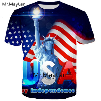 USA Statue of Liberty 3D Print T Shirt Men/women Cool America Flag Tee Tshirt Boy Hipster Tops Clothes Big Size 6XL DropShipping american flag usa statue of liberty 3d print sweatshirts men women cool pullovers hoodies boys long sleeves streetwear clothes