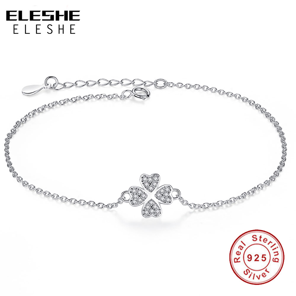 ELESHE REAL 925 Sterling Silver Lucky Four Leaf Clover Charm Bracelet Crystal Link Chain Bracelet for Women Original Jewelry