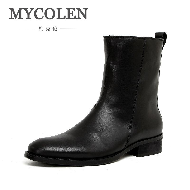 MYCOLEN Men Genuine Leather Chelsea Boots Black Punk Style Mens Shoes High Heels Autumn Winter Keep Warm Men Boots Botte Moto цены онлайн