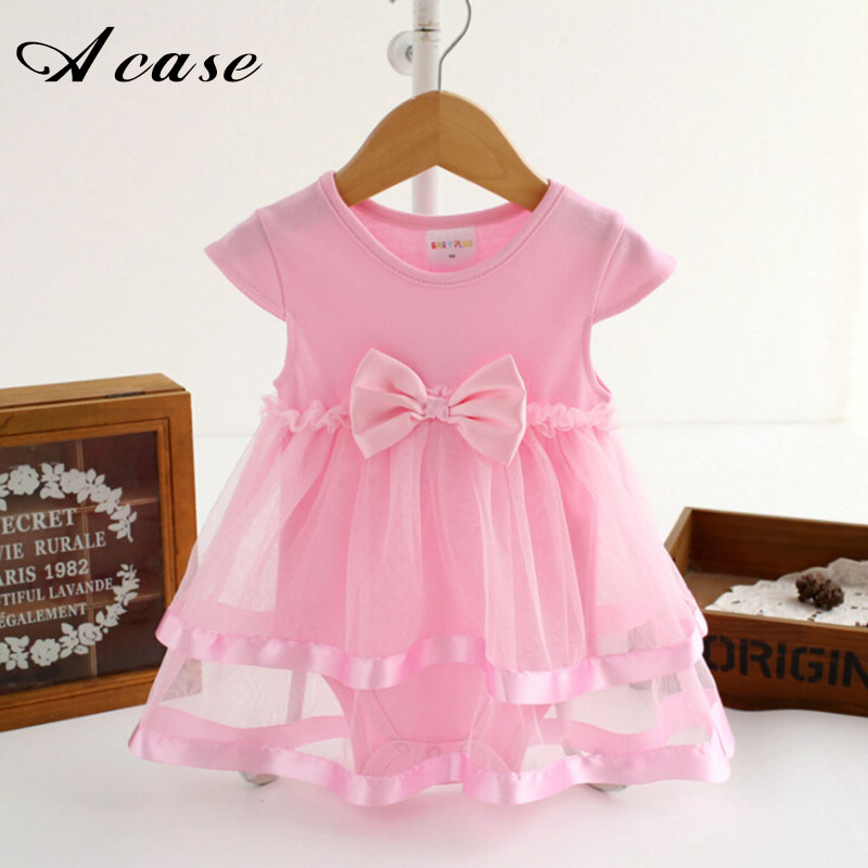Newborn Baby Girls Dress 2018 Summer 100% Cotton Bow Baby Rompers For Kids Infant Girls Clothes Jumpsuit Pink Red White Dresses