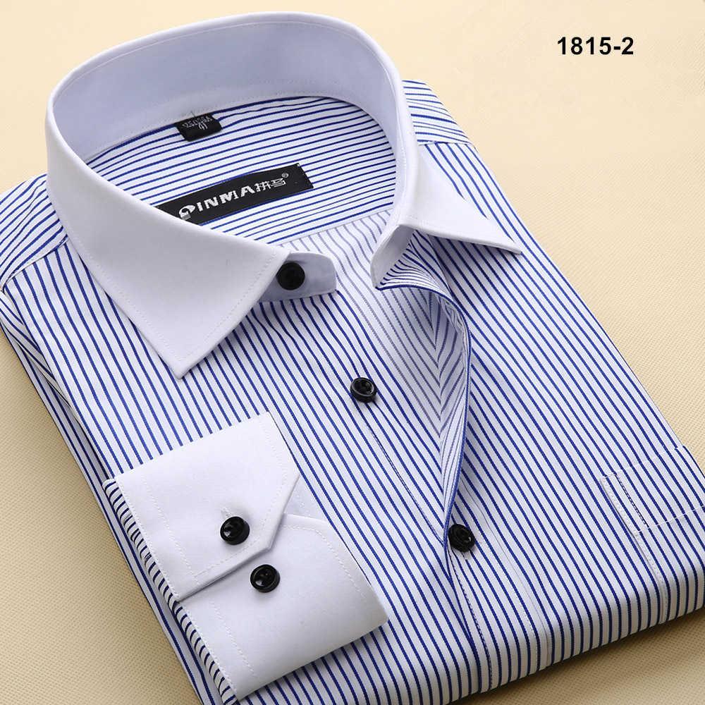 Брендовые мужские рубашки в полоску с отложным воротником, Повседневная Деловая официальная рубашка, Высококачественная Мужская рубашка с длинным рукавом - Цвет: 18152