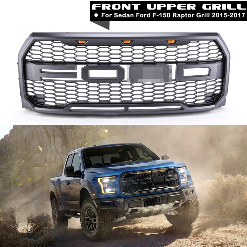 4Pcs Car Racing Grill For Ford F150 Raptor 2015 2017 2016 Grille Logo Mesh Radiator ABS Front Bumper Lower Modify Mask With LED front grille led emblem logo light 4 colors abs decorative grill lamp for f ord r anger t7 2016 2017 car styling