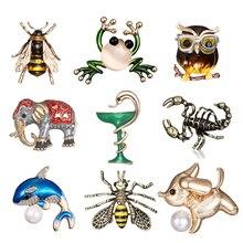 Vintage Simulated Pearl Bee Dog Scorpion frog fish Elephant owl Pin Brooch Antique Pin Women Brooch Pin Costume brooches jewelry цена в Москве и Питере