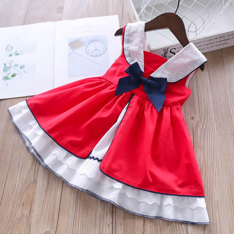 2019 Summer Girls Hollowing Flowers Bows A line Princess Dresses with Bow Children s Clothes Lolita