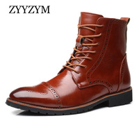 ZYYZYM Men Boots Leather Brogue Style Autumn and Spring Classic Men Motorcycle Boots British Boots Men Plus Size 38 48