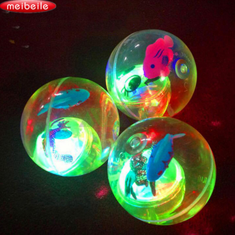 5.5cm Blinkende Luminous Ball Gummi Bouncing Ball Poprygunchik Ball Antistress Lys LED Anti Stress Gave Sjov Legetøj til Børn