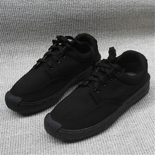 Чисто Черный Холст Обуви Мода износостойкой Мужчины Работают Обувь Дышащая Удобные Zapatos Hombre