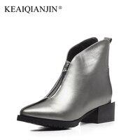 KEAIQIANJIN Woman High Heels Ankle Boots Black Silvery Plus Size 34 44 Autumn Winter Shoe Zipper