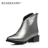KEAIQIANJIN Woman High Heels Ankle Boots Black Silvery Plus Size 34 44 Autumn Winter Shoe Zipper