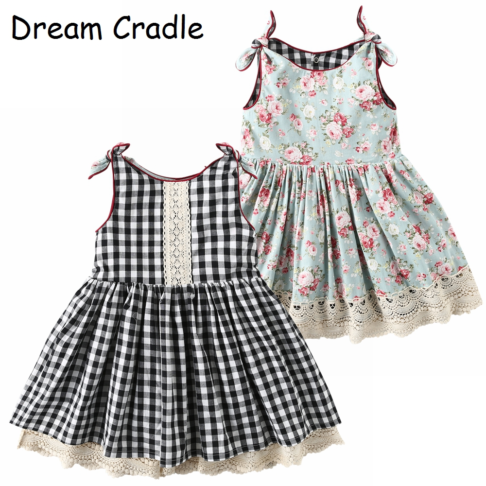 Dream Cradle / 2019 New Design , 2-Side Baby Girls Dress ,Vintage Lace Kids
