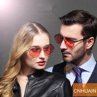 CNHUAIN Marca Puntos Noche Gafas de Conducción Del Conductor Gafas de Visión Nocturna gafas de Sol Polarizadas Para Hombres Mujeres Versátil Lente Roja
