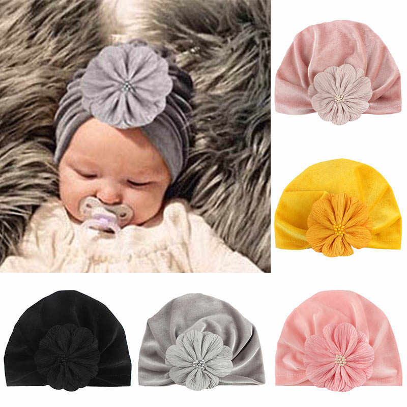 Velvet Baby Hat Turban Flower Newborn Baby Girl Hat Beanie Cap Autumn Winter Infant Toddler Kids Girls Bonnet Photography Props