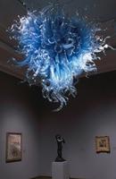 Wedding Decoration Lighting LED Light Source Dale Chihuly Glass Art Heart Shape Blue Chandelier