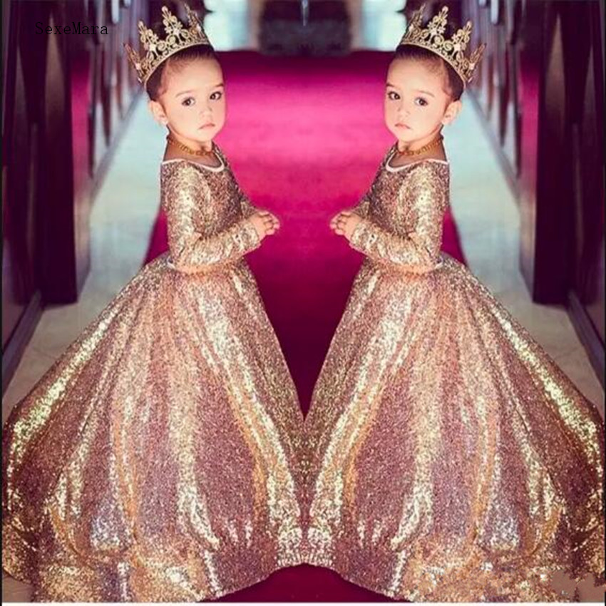 Bling Gold Sequins   Girls   Pageant   Dresses   Formal Wear Vintage Party Gowns Long Sleeve Beautiful   Flower     Girl     Dress   for 2-14Y Teens