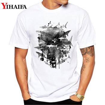 Men T Shirt Harajuku Summer Graphic Tee Fish gym Print Short Sleeve White T-Shirts Round Neck Tops