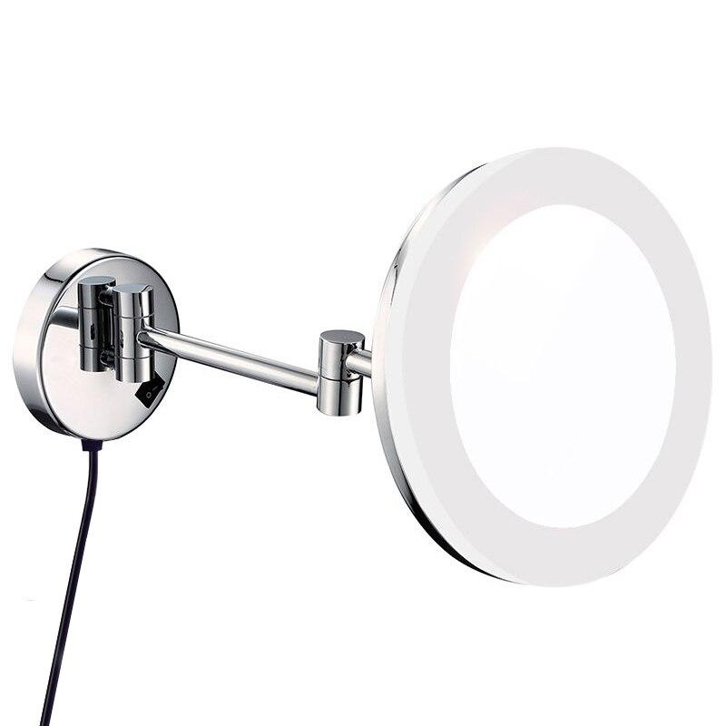 Гурун макияж зеркало со светодио дный подсветкой и увеличением ванная комната Hotel освещенное настенное Зеркало Chrome Регулируемый 3X/5X/7X/10X