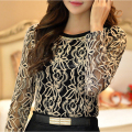 New 2015 Fashion Plus Size Long Sleeve Crochet Black And White Body Lace Chiffon Blouse Women Elegant Vintage Female Shirt  65A5