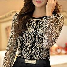 New Plus Size Long Sleeve Lace women Chiffon Blouse hollow out elegant fashion casual Shirt top