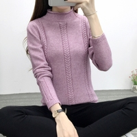 Autumn And Winter Women S New Korean Slim Solid Color Knit Shirt Twist Semi High Neck