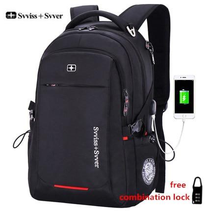 Svvisssvver мужской многофункциональный USB зарядка Мода Повседневная Деловая туристический anti-theft водонепроницаемый 15,6 дюймов для ноутбука мужчины рюкзак