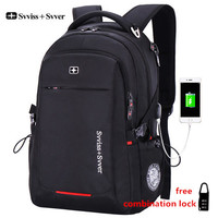 Svvisssvver Brand Men Multifunction USB Charging Fashion Business Casual Tourist Anti Theft Waterproof 15 6 Inch