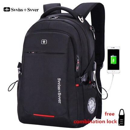 svvisssvver brand men Multifunction USB charging fashion business casual tourist anti-theft waterproof 15.6 inch Laptop backpack