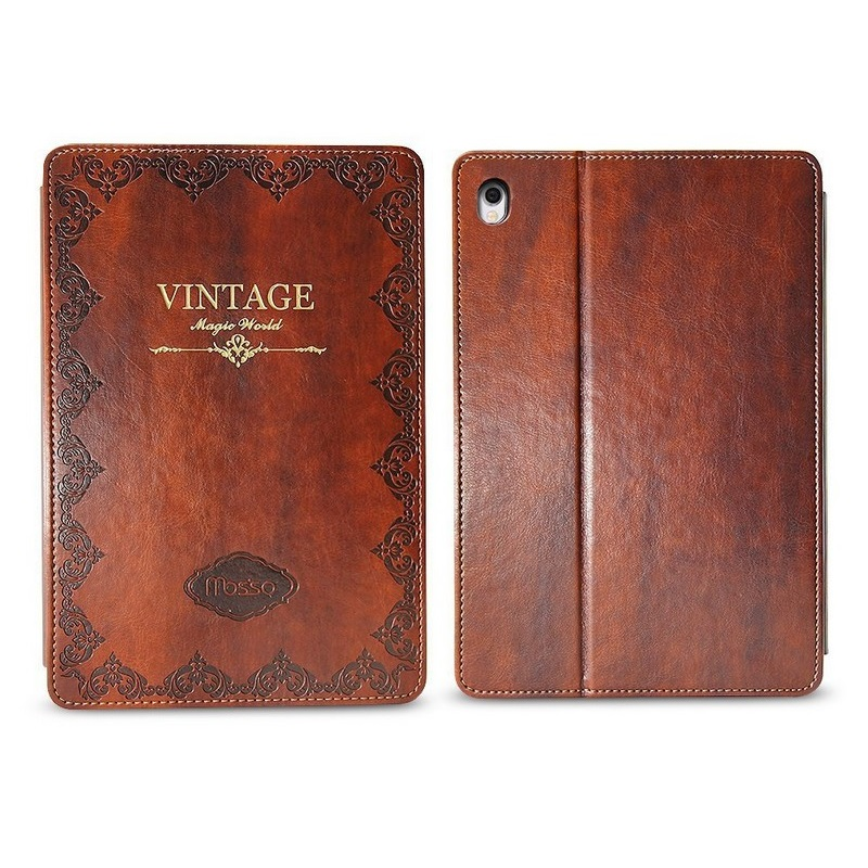 Solque Luxury Leather Case for iPad Pro 9.7 2016 Tablet Cases Magnet Slim Hard Shell Flip Smart Cover Retro Vintage Auto Sleep