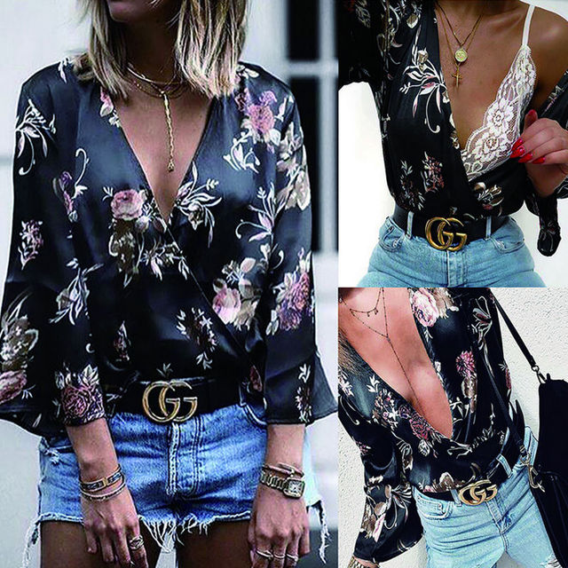 Women Long Sleeve Loose Print Blouse 3