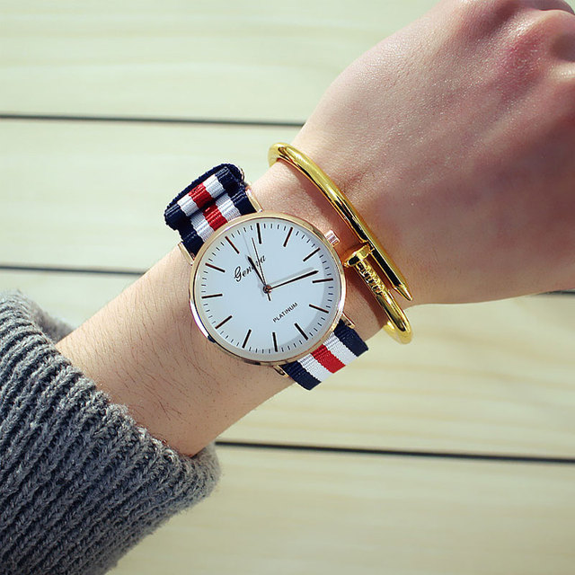 British trend simple canvas nylon band watches retro ultra-thin Korean students