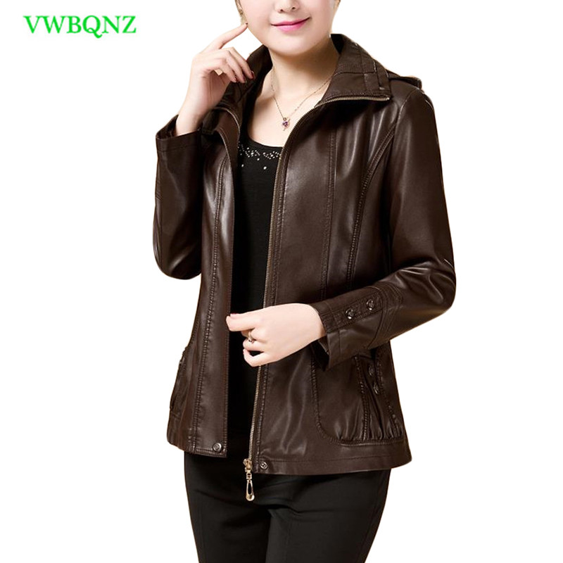 Women Short PU   Leather   Jacket Spring Autumn Slim Casual Motorcycle   Leather   Jacket Women's Plus size Removable cap Overcoat A221