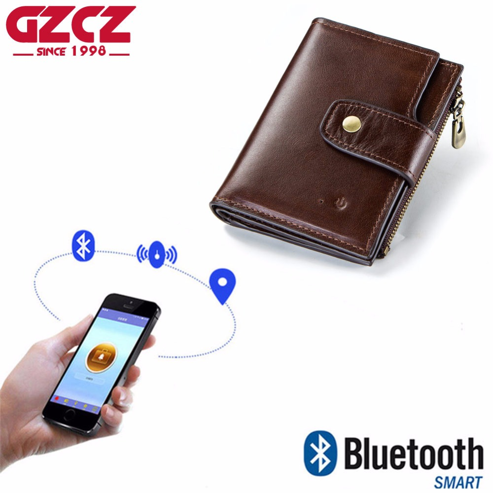 GZCZ Мужской умный кошелек, RFID, натуральная кожа, высокое качество, анти потерянный, умный, Bluetooth, GPS, кошелек, костюм для смартфона, 2019 Кошельки      АлиЭкспресс
