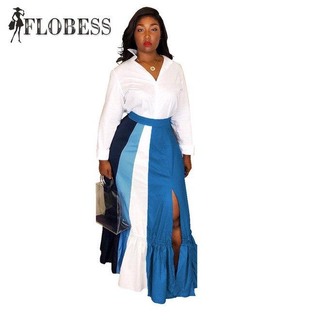 Women Fashion Striped Print Skirt Streewear High Waist Sexy High Slit Skirts 2018 Autumn Lady Casual Skinny Skirts