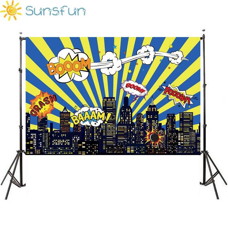 Sunsfun 7x5ft Birthday Party Superhero City Building Night Baby Shower Boy Children Background 220x150cm