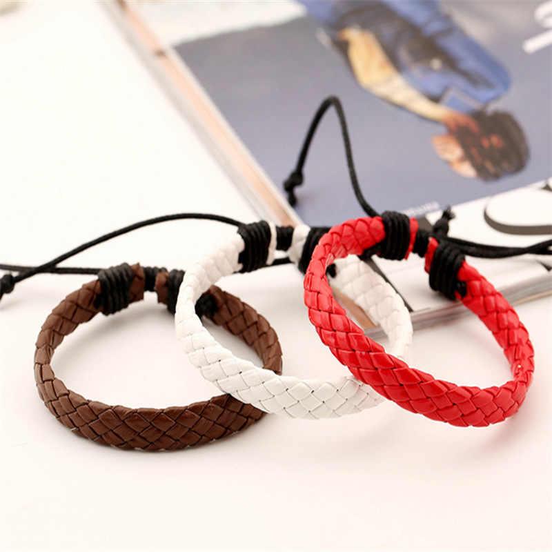 PUN mens leather bracelets for women braclet hand chain braslet charm couple leather braided bracelet male female men femme punk