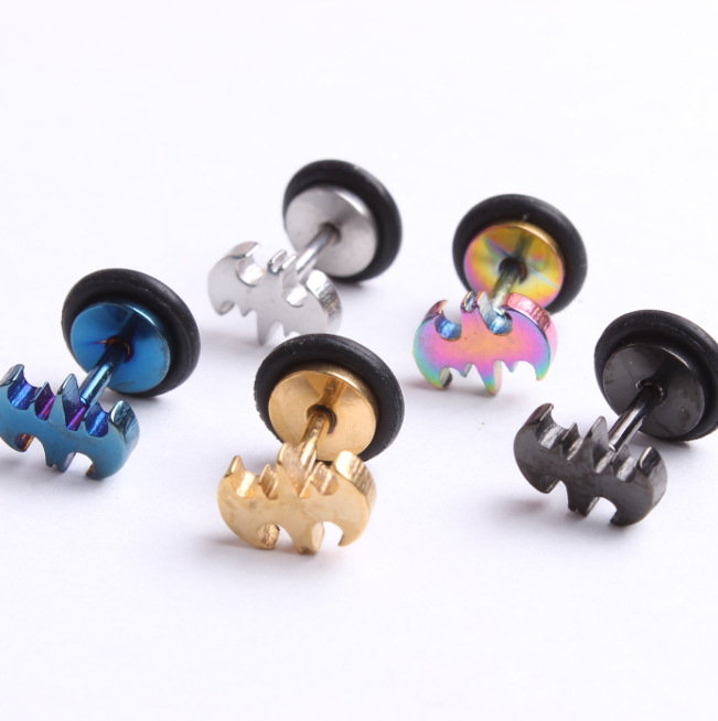 Whole Women Men Batman Earrings Punk Stainless Steel Barbell Stud Brincos Jewelry 5 Colors In From Accessories