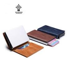 DWTS Men's Retro Credit Card Holder Blocks Rfid Wallet Genuine Leather Unisex Safety Aluminum Metal Wallet Rfid Wallet цена и фото